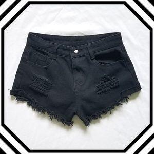 Black High Rise Distressed Jean Shorts